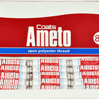 Sewing thread by Coat's Ameto all purpose sewing black & white 100% spun polyester thread, best deal from India!