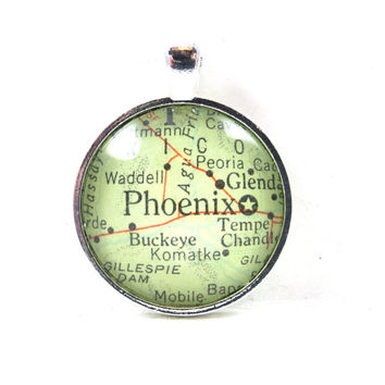 Phoenix, Arizona, Pendant from Vintage Map, in Glass Tile Circle