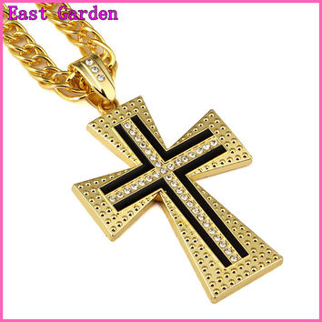 East Garden Hip Hop Jewelry 18K Gold Bling Bling Cross Long Chain Fashion Necklace Pendent for Men Gift