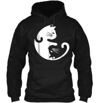 Cat Yin Yang Peace Loving Interconnected  Pullover Hoodie 8 oz
