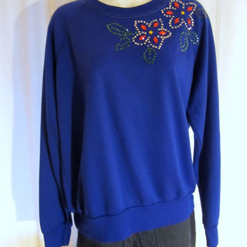 Vintage Super Soft 80s SEQUIN RHINESTONE FLOWERS Ladies Small Medium Cute Acrylic Sweater Top