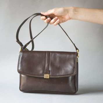 Dark Brown Leather Messenger Bag Purse. Vintage Satchel Purse. Minimalist Crossbody Handbag Gift. Preppy Shoulder bag in dark Chocolate