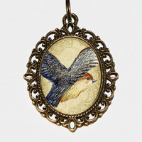 Flying Robin Bird Necklace Oval Pendant