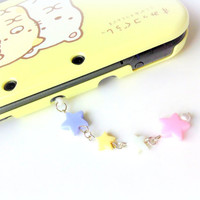 Fairy Kei Pastel Stars Dust Plug, Kawaii Phone plug charm, Earphone Jack Beaded Dust Plug, Nintendo 3DS, Ps Vita, Cute Star Beads Charm