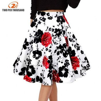 CREYONHS 50s Vintage Woman Retro Red Rose Flower Bouquet Floral Print High Waist Midi Skirts Mid-Calf Long Saia Feminina Ladies Skirt