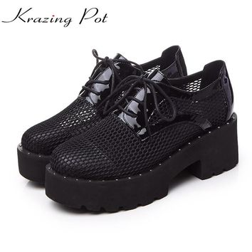 Shoes women fashion round toe platform cut outs thick heels classic lace up runway pumps brand wedding sexy casual shoes L01