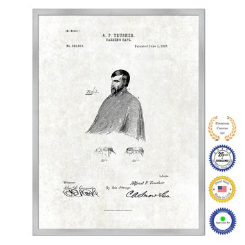 1897 Barber's Cape Antique Patent Artwork Silver Framed Canvas Print Home Office Decor Great Gift for Barber Salon Hair Stylist