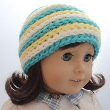 American Girl Doll Beanie Crochet Stripes