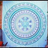 Elephant Tapestry Wall Hanging Indian Mandala Queen Size Yoga Boho Hippie Bohemi