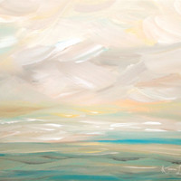 Seascape Abstract Beach Coastal Original Painting 16 x 20 Ocean Landscape Modern Art Contemporary Painting Stretched Canvas