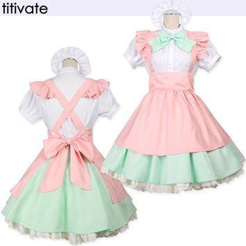 TITIVATE Halloween Women Adult Alice in Wonderland Wench Costume French Maid Costume Princess Clothing Cartoon Character Cosplay