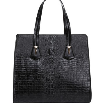 CROC EMBOSS BLACK BUSINESS BAG