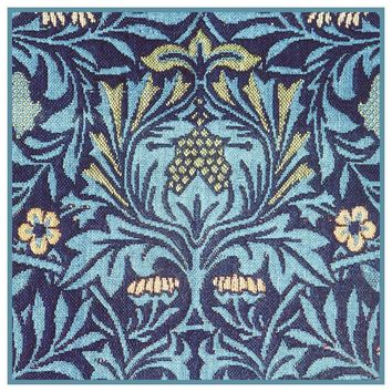 William Morris Blue Vine Flowers detail Design Counted Cross Stitch or Counted Needlepoint Pattern