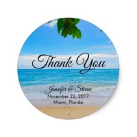 Tropical Beach Vacation Island Wedding Thank You Classic Round Sticker