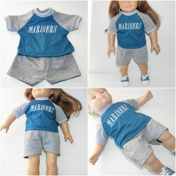 "bitty baby clothes, girl, boy, or 15"" twin doll OR 18"" DOLL, seattle baseball fan, grey teal shorts t shirt, handmade by adorabledolldesigns"