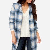 By and Large Oversized Blue Plaid Coat