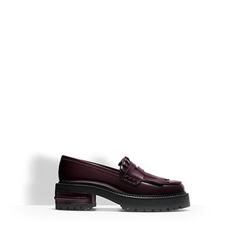 Loafer in burgundy shiny calfskin leather - Dior