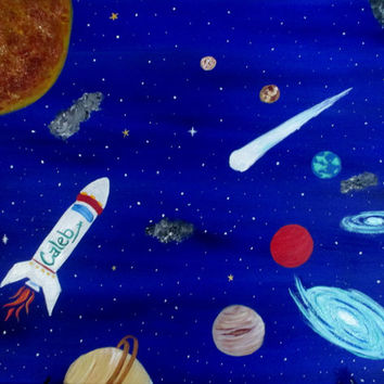 Space Art for Boys Room, Painting on Canvas, Boys Room Decor, Personalized