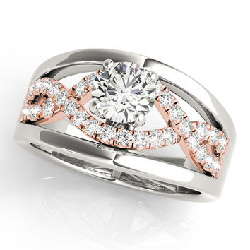 Engagement Ring -Two-Tone Intertwined Split Band Diamond Engagement Ring with Halo & Solid Outside Band.-ES1667