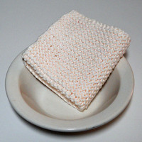 Hand Knit Large Cotton Washcloth, Dishcloth,  Off-White Washcloth, Off-White Dishcloth,  Mix and Match for a Custom Set, Housewarming Gift