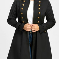 Plus Size Double Breasted Epaulet Flare Coat