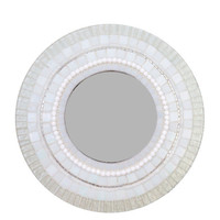 Round White Mosaic Wall Mirror // Mixed Media Mosaic