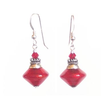 Murano Glass Red Bicone Sterling Silver Earrings, Venetian Jewelry