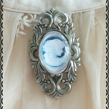 Handmade victorian-style cabochons blue and silver brooch