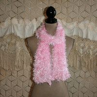 Vintage 80s Pink Scarf Soft Fuzzy Scarf Pink Knit Scarf Spring Scarf Spring Accessories 1980s Fashion Accessories Club Kid Hipster Clueless