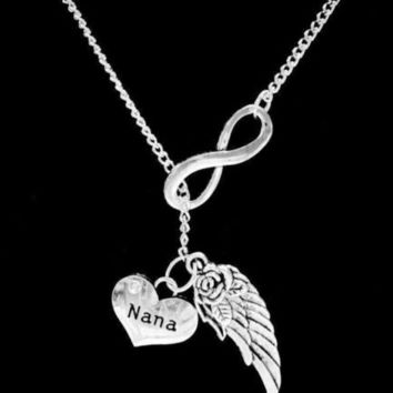Infinity Guardian Angel Nana Grandmother Wing In Memory Heaven Lariat Necklace