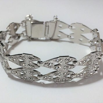 Art Deco Sterling Silver Bracelet Marcasite Stones Bridal Jewelry Gift Idea Vintage Jewelry 418