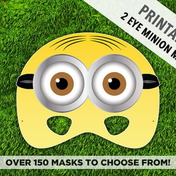 photo relating to Minion Eye Printable named Printable Minion Mask 2 Eye Minion Cartoon Temperament Mask