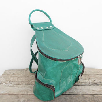 SALE - Green Leather Backpack, Satchel bag Handmade Soft Leather School College Travel Picnic Weekend bag