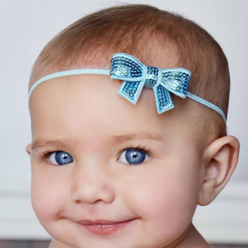 2016 Christmas Baby Headbands baby flower head band with sparkly sequin bow Hair Accessories