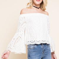 Country Cutie Eyelet Off the Shoulder Top