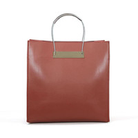 Brown Cable Strap Shopper Bag With Black Pouch
