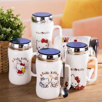 7 Color Cartoon Bownot Hello Kitty Bone Ceramic 450ML Coffee Milk Tea Mug Cup With Spoon
