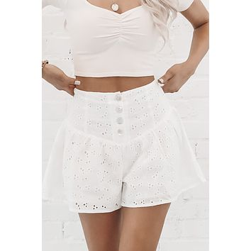 Walk On The Beach White Eyelet Shorts