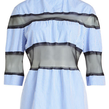Striped Cotton Blouse with Silk Chiffon Inserts - Maison Margiela | WOMEN | KR STYLEBOP.COM