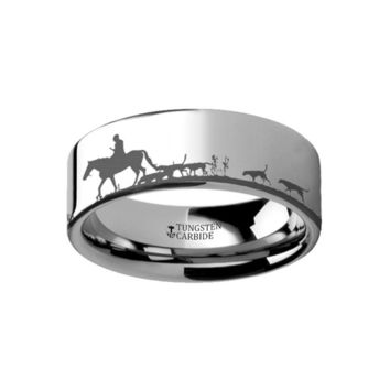Fox Hunt Dogs Tungsten Carbide Ring