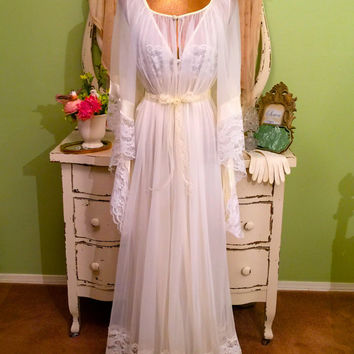 Long Vintage Nightgown Set, Revival Style Nightie Robe Set, Chiffon Lingerie, Romantic Peignoir, Wedding Boudoir Trousseau, Womens L, M/L