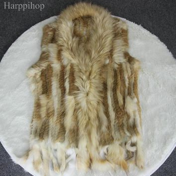 New Real ladies Genuine Knitted Rabbit Fur Vest With Raccoon Fur Trimming Waistcoat Winter Fur Jacket harppihop fur