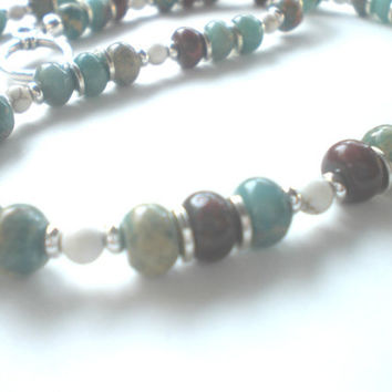 Bohemian Earth Tone Beaded Necklace