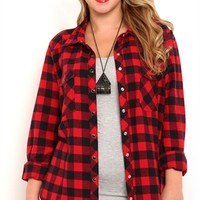 Plus Size Long Sleeve Buffalo Plaid Flannel Shirt with Snap Closures
