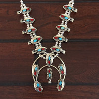 Sale! Real Turquoise and Coral Squash Blossom Necklace | Navajo Jewelry | Turquoise Moon necklace indian southwestern native american silver