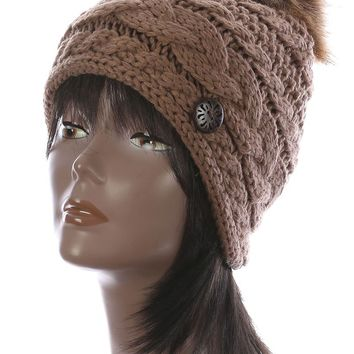 Brown Faux Fur Pom Pom Cable Knit Winter Beanie Hat And Cap