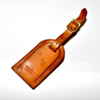 LOUIS VUITTON Leather Luggage Identification Id Tag for Keepall Speedy Boston Duffel Bag Guaranteed Authentic Vintage LV