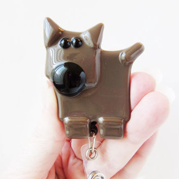 Doberman Dog Lover ID Badge Holder, ID Card Holder, Retractable ID Card, Dog Accessory, Pet Lover Gift, Gift for Dog Lover, Fused Glass Dog