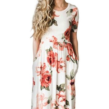 Casual Short Sleeve Pocket Design White Midi Floral Dress
