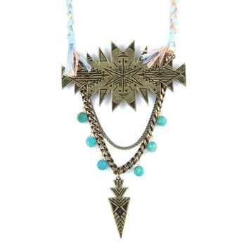 City Slicker Statement Necklace in Brass Cactus Flower